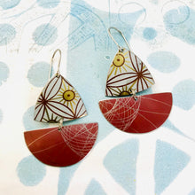 Load image into Gallery viewer, Red Spirograph Little Sailboats Tin Earrings