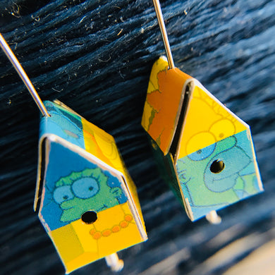 Marge & Homer Simpson's Colorblock Tiny Tin Birdhouse Earrings