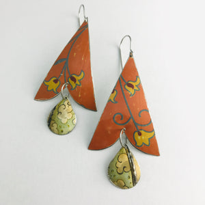Pumpkin and Yellow Flowers Vintage Tin Arrowhead Earrings