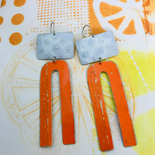 Load image into Gallery viewer, White Xd and Orange Arch Zero Waste Tin Earrings