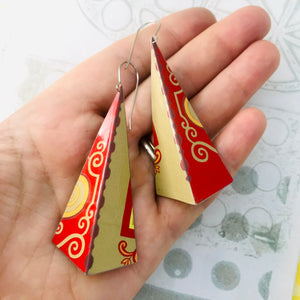 Red & Camel Long Pyramids Recycled Tin Earrings