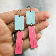 Load image into Gallery viewer, Rustic Matte Light Aqua & Bubblegum Zero Waste Tin Earrings