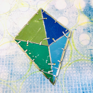 Octahedron Upcycled Tin Brooch