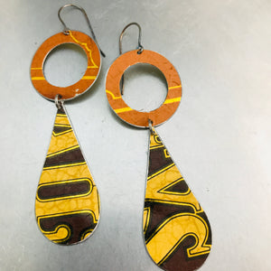 Bailey's Orange Ring & Long Teardrops Upcycled Tin Earrings