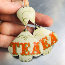 Load image into Gallery viewer, Orange Tea Typography Trefoil Upcyled Tin Earrings