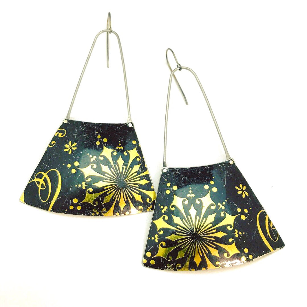 Golden Starburst on Midnight Recycled Tin Earrings
