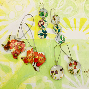 Vintage Flowers Multi Circle Upcycled Tin Earrings