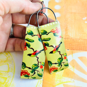 Song Birds Long Narrow Tin Earrings