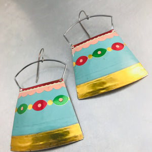 Vintage Festive Aqua Large Zero Waste Tin Earrings