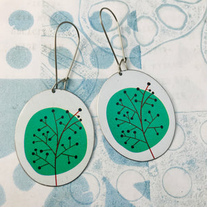 Mod Green Trees Oval Zero Waste Tin Earrings