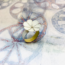 Load image into Gallery viewer, White Flower Upcycled Tin Ring
