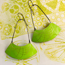 Load image into Gallery viewer, Chartreuse Spirograph Wide Arc Zero Waste Earrings