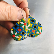 Load image into Gallery viewer, Vintage Mosaic Upcycled Teardrop Tin Earrings