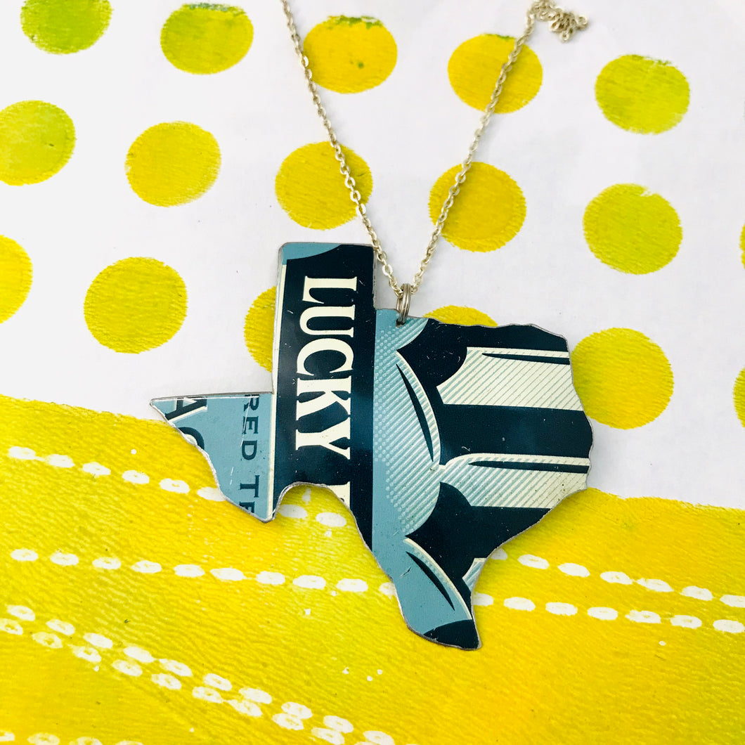 Lucky Texas Recycled Tin Necklace