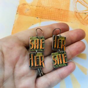 Vintage Orange Her She Recycled Tin Earrings