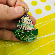 Load image into Gallery viewer, Mosaic & Green Little Sailboats Upcycled Tin Earrings