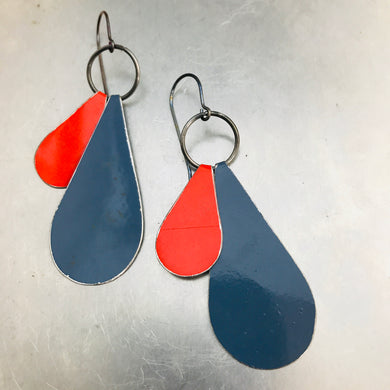 Peekaboo Drops Slate & Carmine Zero Waste Tin Earrings