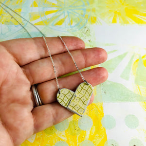 Wavy Golden Checkerboard Tin Heart Recycled Necklace