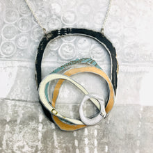 Load image into Gallery viewer, Black, Snows, Gold, & Dusty Blue Scribbles Upcycled Tin Necklace