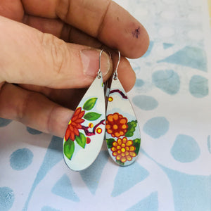Vintage Bright Blossoms Upcycled Narrow Teardrop Tin Earrings