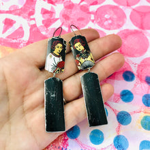Load image into Gallery viewer, Courtesans Fancy Black Rectangles Recycled Tin Earrings