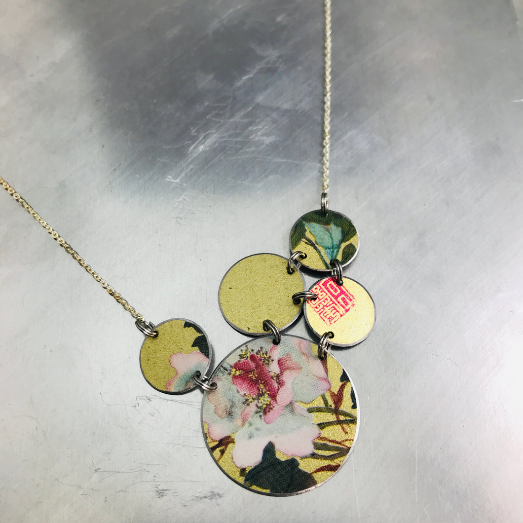 Mixed Golds & Flowers Circles Upcycled Tin Necklace