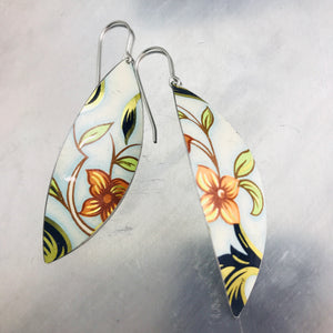 Vintage Orange-y Pink Flowers Upcycled Tin Leaf Earrings