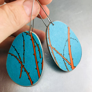 Bright Blue & Orange Ovals Recycled Book Cover Earrings
