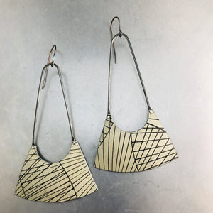 Cream with Black Lines Upcycled Tin Earrings