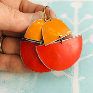 Persimmon & Cerise Boats Upcycled Tin Earrings