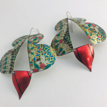 Load image into Gallery viewer, Vintage Mosaic & Scarlet Abstract Butterflies Upcycled Tin Earrings