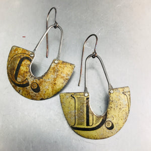 Weathered C & D Little Us Upcycled Tin Earrings