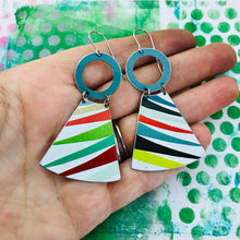 Load image into Gallery viewer, Multicolor Small Fans Zero Waste Tin Earrings