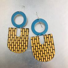 Load image into Gallery viewer, Vintage Buckskin Pattern & Blue Chunky Horseshoes Zero Waste Tin Earrings