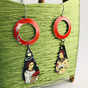 Bright Red Ring Asian Ladies Upcycled Vintage Tin Long Teardrops Earrings