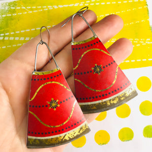 Antique Gold & Scarlet Zero Waste Tin Long Fans Earrings