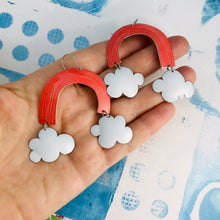 Load image into Gallery viewer, Coral Etched Clouds Upcycled Tin Earrings