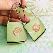 Load image into Gallery viewer, Zinnia on Pale Seafoam Recycled Tin Earrings