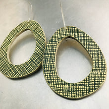 Load image into Gallery viewer, Green Crosshatch Mod Ovals Upcycled Book Cover Earrings