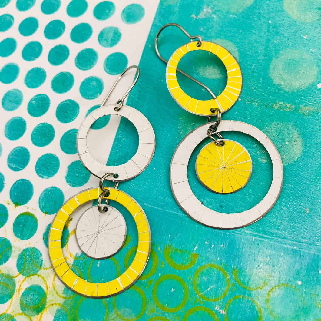 White & Yellow Starburst Multi Circles Upcycled Tin Earrings