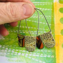 Load image into Gallery viewer, Orange Mixed Patterns Arch Dangle Tin Earrings