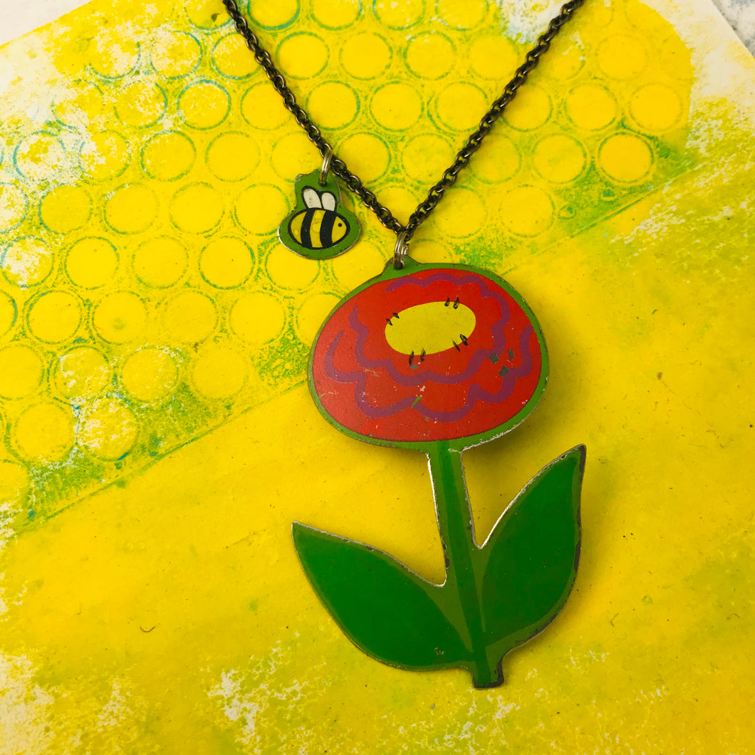 RESERVED Bee Necklace & Bee Tiny Dot Upcycled Tin Earrings