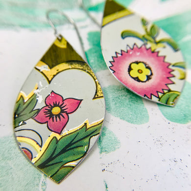 Pink Flowers Upcycled Long Pod Tin Earrings