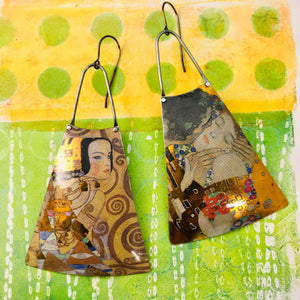 Klimt The Kiss Upcycled Tin Long Fans Earrings