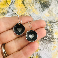 Load image into Gallery viewer, Etched Silver Heart on Black Tiny Dot Tin Earrings