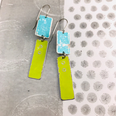 Rustic Seafoam & Bright Yellow Green Zero Waste Tin Earrings