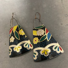 Load image into Gallery viewer, Flowers on Midnight Upcycled Vintage Tin Earrings