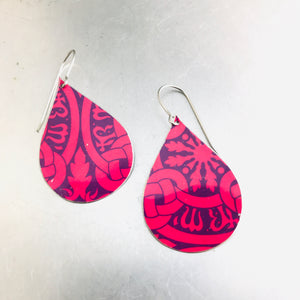 Bright Pink & Deep Purple Upcycled Teardrop Tin Earrings