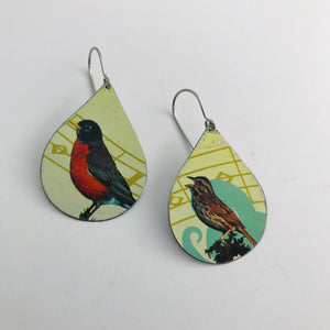 Robin & Sparrow Upcycled Teardrop Tin Earrings