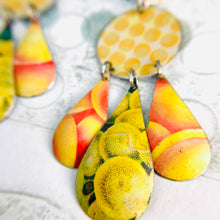 Load image into Gallery viewer, Dots & Fruits & Leaves Zero Waste Tin Chandelier Earrings